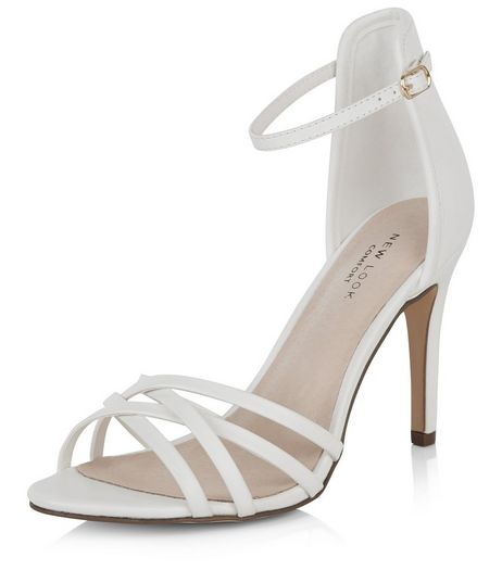 White Comfort Cross Strap Heeled Sandals  | New Look