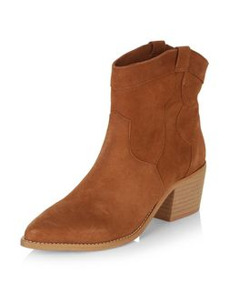 Tan Premium Suede Western Boots  | New Look
