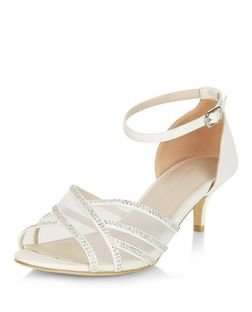 Wide Fit Cream Diamante Mesh Cross Strap Heeled Sandals  | New Look