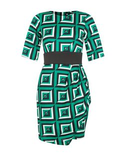 Closet Green Geo Print Contrast Panel Dress | New Look