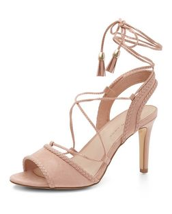 Wide Fit Stone Plaited Trim Ghillie Heeled Sandals  | New Look