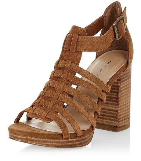 Tan Suede Multi Strap Block Heel Sandals  | New Look