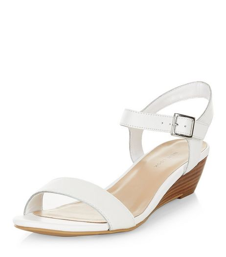 White Leather Ankle Strap Wedge Sandals  | New Look