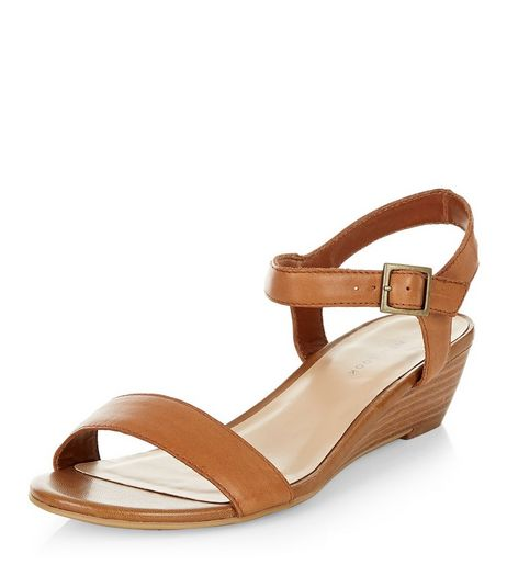 Tan Leather Ankle Strap Wedge Sandals  | New Look
