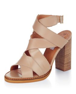 Cream Premium Leather Multi Strap Block Heels  | New Look