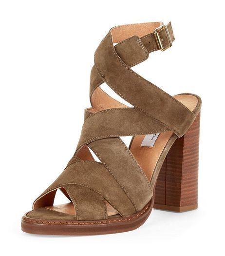 Khaki Premium Leather Multi Strap Block Heels  | New Look
