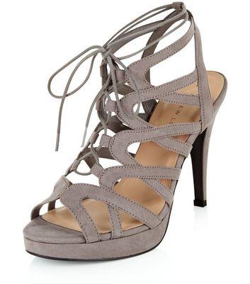 Sandalo  donna Wide Fit Grey Suedette Platform Ghillie Heels