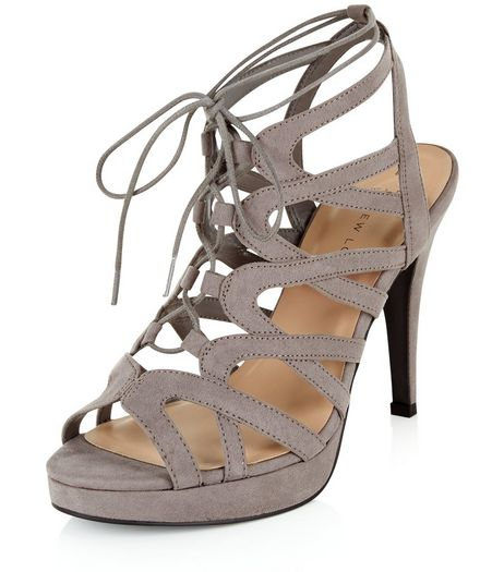 Wide Fit Grey Suedette Platform Ghillie Heels  | New Look