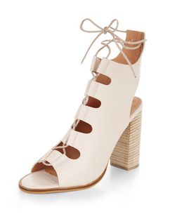 Pink Premium Leather Peep Toe Ghillie Block Heels  | New Look