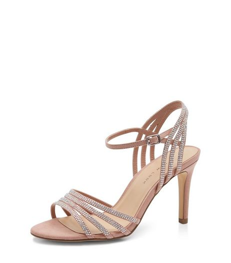 Wide Fit Stone Suedette Embellished Ankle Strap Heels  | New Look