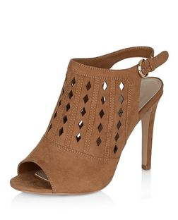 Wide Fit Tan Laser Cut Out Peep Toe Sling Back Heels  | New Look