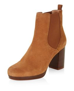 Tan Premium Suede Block Heel Chelsea Boots  | New Look