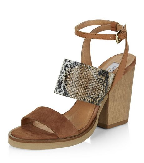 Tan Premium Leather Snakeskin Print Block Heels | New Look