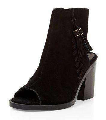 Black Premium Suede Peep Toe Block Heel Boots