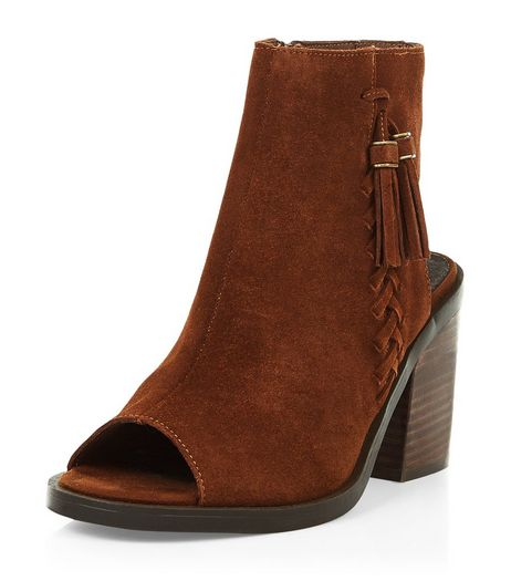 Tan Premium Suede Peep Toe Block Heel Boots  | New Look
