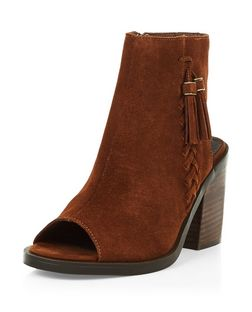 Tan Premium Suede Peeptoe Block Heel Boots  | New Look