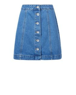 Teens Light Blue Denim Button Front A-Line Skirt | New Look