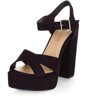 Sandalo  donna Wide Fit Black Suedette Cross Strap Block Heels