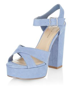 Wide Fit Blue Suedette Cross Strap Block Heels  | New Look