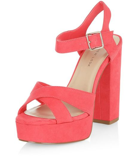Wide Fit Bright Pink Suedette Cross Strap Block Heels  | New Look