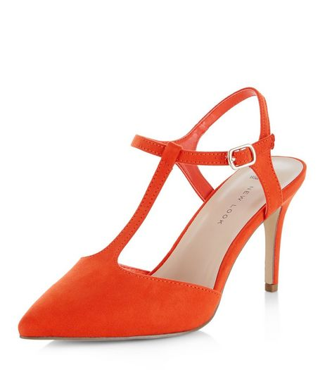 Wide Fit Orange Suedette T-Bar Pointed Heels  | New Look