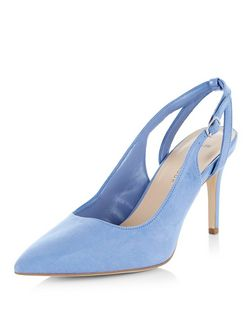 Wide Fit Blue Suedette Sling Back Pointed Heels  | New Look