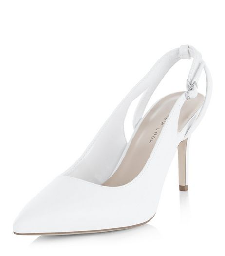Wide Fit White Patent Sling Back Pointed Heels  | New Look