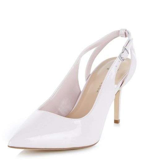Wide Fit Pink Patent Sling Back Pointed Heels  | New Look