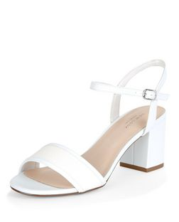 White Comfort Woven Strap Mid Heels  | New Look