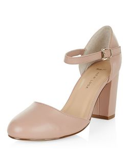 Wide Fit Stone Ankle Strap Block Heels  | New Look