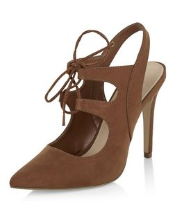 Tan Suedette Ghillie Pointed Heels  | New Look