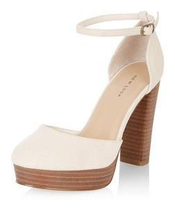 Cream Canvas Ankle Strap Plaform Block Heels | New Look