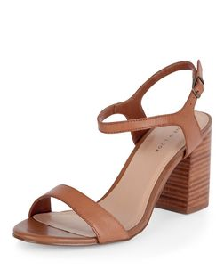 Tan Leather Ankle Strap Block Heels  | New Look