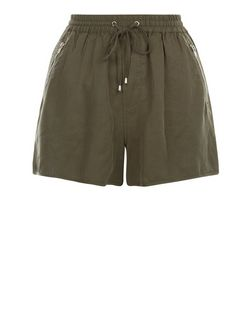 Khaki Zip Pocket Runner Shorts  | New Look
