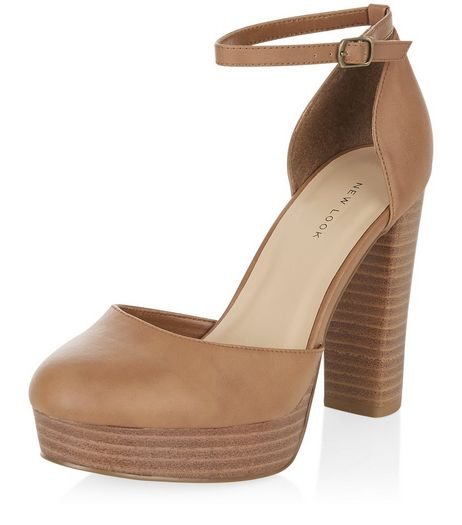 Tan Ankle Strap Block Heels  | New Look