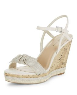Cream Canvas Bow Wedges | New Look