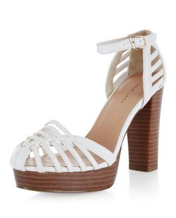 White Woven Ankle Strap Block Heels  | New Look