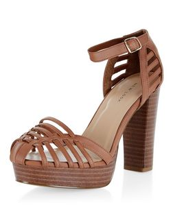 Tan Woven Ankle Strap Block Heels | New Look