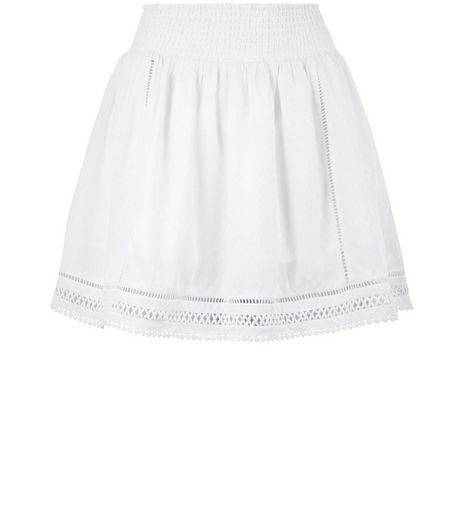 White Crochet Trim Mini Skirt  | New Look