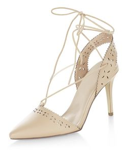 Stone Laser Cut Out Ghillie Heeled Sandals  | New Look