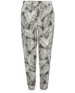 Khaki Palm Leaf Print Slim Leg Trousers  | New Look