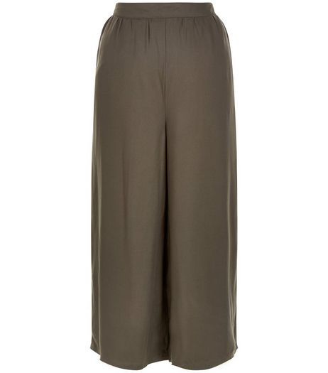 Khaki Elasticated Back Culottes  | New Look