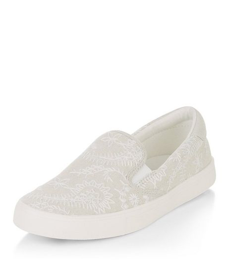 Cream Embroidered Slip On Plimsolls  | New Look