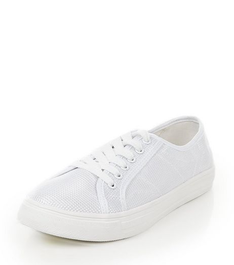 White Seam Panel Lace Up Plimsolls  | New Look