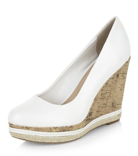 White Contrast Cork Espadrille Wedges  | New Look