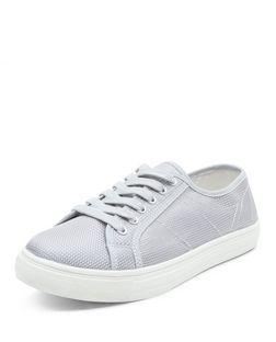 Grey Woven Lace Up Plimsolls  | New Look