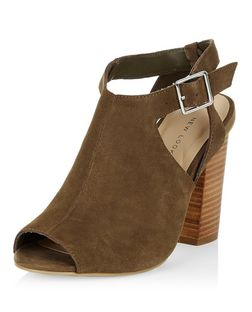 Khaki Suede Cut Out Block Heels  | New Look