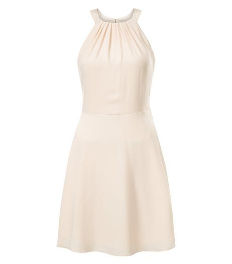 Shell Pink Crepe Ruched Neck Skater Dress  | New Look