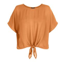 Tan Fine Knit Tie Front T-Shirt  | New Look