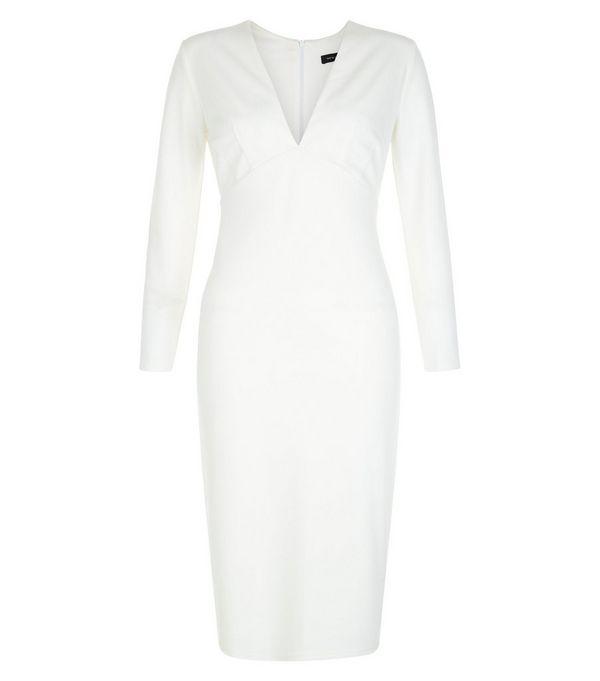 White V Neck Long Sleeve Bodycon Dress